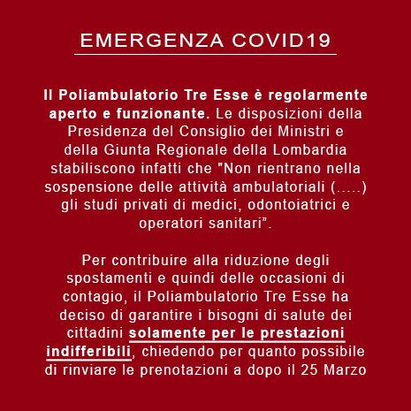 Emergenza Covid19 - PoliambilatorioTreEsse